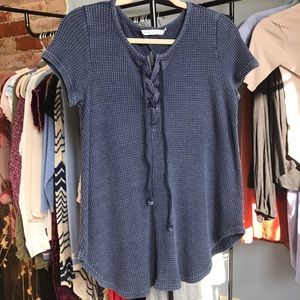 Waffle knit faded sweater top